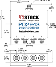 Outdoor IP67 Rated Power Divider Combiner, 4 Way, TNC - Outline Drawing