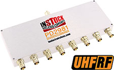 PD2981, UHF/RFID 8-way power divider combiner with TNC coaxial connectors spanning 350-1000 MHz