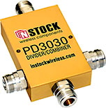 PD3030, 3-way T-style power divider combiner with N-type coaxial connectors spanning 698-2700 MHz
