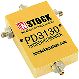 PD3130, 3-way T-style power divider combiner with SMA coaxial connectors spanning 698-2700 MHz
