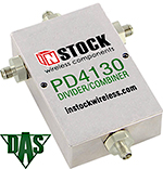 PD4130, RoHS 3-way T-style power divider combiner with SMA coaxial connectors spanning 698-2700 MHz