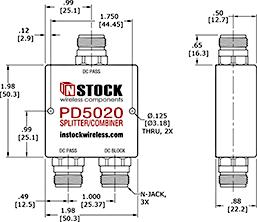 DC Block Power Splitter Combiner, 2 Way, N Type Outline Drawing