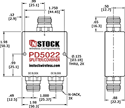 DC Block Power Splitter Combiner, 2 Way, N Type Outline Drawing