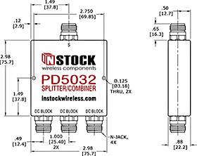 DC Block Power Splitter Combiner, 3 Way, N Type Outline Drawing
