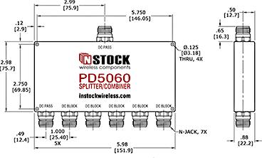 DC Blocking Power Splitter Combiner, 6 Way, Type N Outline Drawing