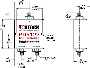 DC Block Power Splitter Combiner, 2 Way, SMA Outline Drawing