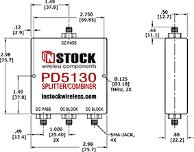 DC Block Power Divider Combiner, 3 Way, SMA Outline Drawing