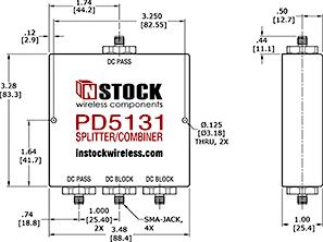 Weather Resistant, DC Blocking, L-Band Splitter Combiner Outline Drawing