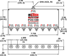 L-Band Splitter, Block 10 MHz + DC, 8 way, SMA Outline Drawing