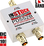 PD552B, DC blocking 2-way L-band splitter with BNC coaxial connectors spanning 698-2700 MHz