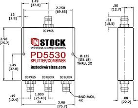 DC Blocking, L-Band BNC Splitter Combiner Outline Drawing