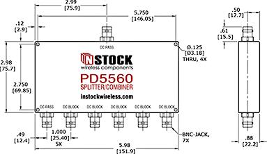 DC Blocking, L-Band BNC Splitter Combiner Outline Drawing.