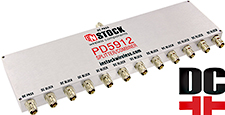 PD5912, DC blocking 12-way power divider combiner with TNC coaxial connectors spanning 698-2700 MHz