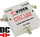 PD7120, DC blocking 2-way T-style L-band splitter with SMA coaxial connectors spanning 698-2700 MHz