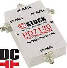 DC Blocking, T Style, 3 Way, SMA 50 Ohm, L Band Splitter Combiner