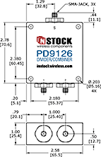 Outdoor IP67 Rated High Power Combiner, 2 Way, SMA - Outline Drawing