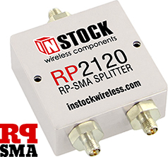 2 Way, RP SMA Jack with Pin Contact, Wi-Fi, IEEE802.11 Splitter Combiner