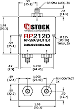 2-Way, RP-SMA Jack with Pin Contact, Wi-Fi, IEEE802.11 Splitter Combiner Data Sheet