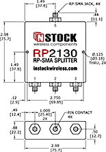3-Way, RP-SMA Jack with Pin Contact, Wi-Fi, IEEE802.11 Splitter Combiner Data Sheet