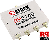 RP2140, 4-way power divider combiner with RP-SMA coaxial connectors spanning 698-2700 MHz