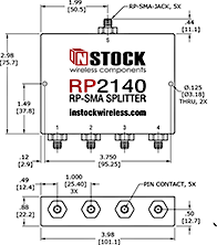 4-Way, RP-SMA Jack with Pin Contact, Wi-Fi, IEEE802.11 Splitter Combiner Data Sheet