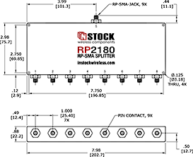 8-Way, RP-SMA Jack with Pin Contact, Wi-Fi, IEEE802.11 Splitter Combiner Data Sheet